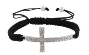 Black Lace Cross Bracelet