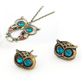 Vintage Owl Jewelry Set