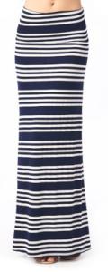 Navy Stripe Maxi Skirt