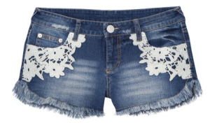 Lace Detail Denim Shorts