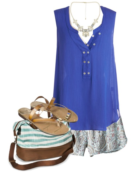Blue Patterned Shorts Outfit