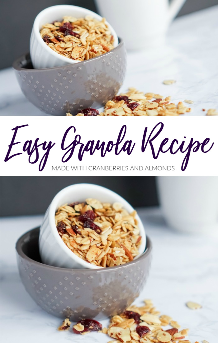 Easy Granola Recipe with Cranberries an Almonds