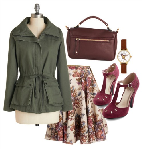Vintage Floral Skirt Outfit with Trench Coat