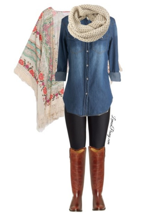 Comfortable Casual Outfit | Floral Kimono, Denim Shirt ...