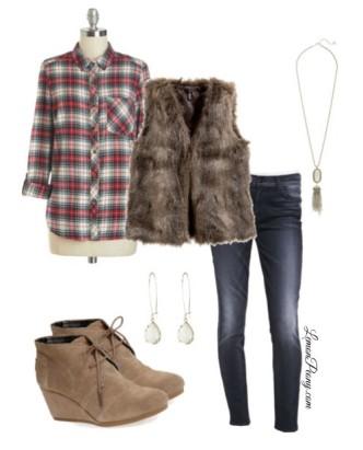 Flannel and Fur Vest Fashion Trends