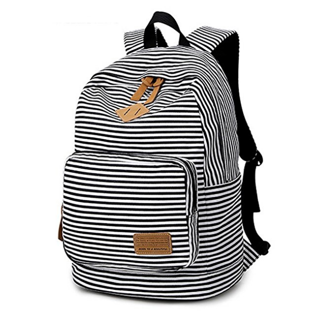 Black and White Stripped Backpack