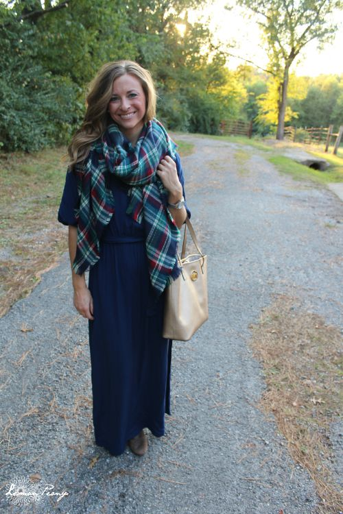 Maxi Dress, Toms Wedges, Michael Kors Handbag, & Plaid Scarf! How to Wear Plaid 5 Ways with 5 Outfits for Fall and Winter!