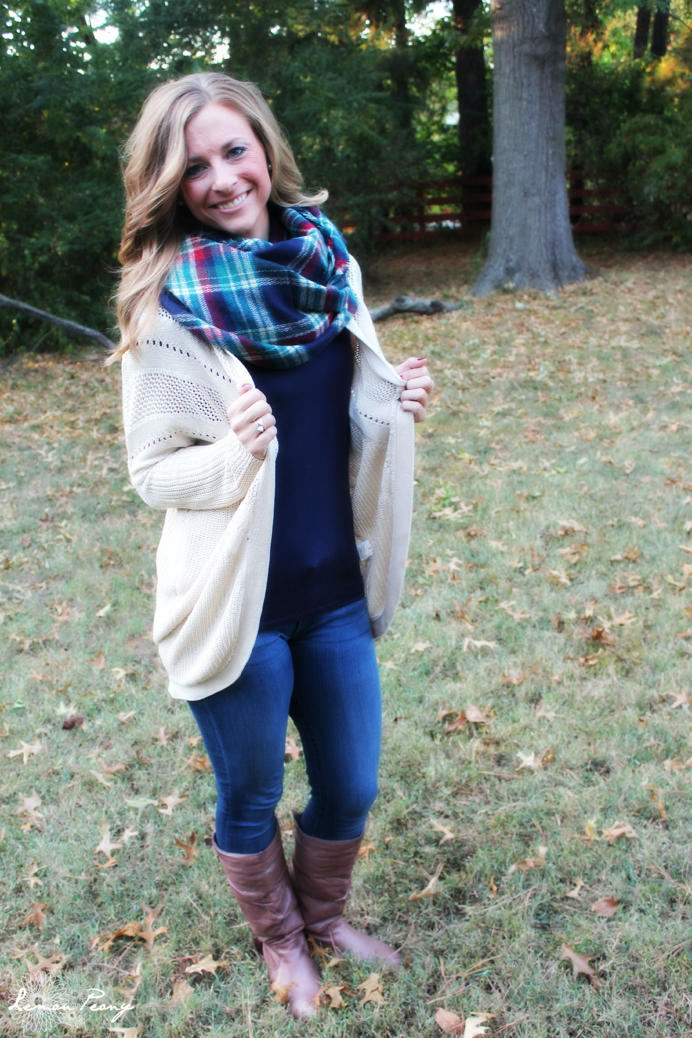 Oversized Sweater Jacket, Tee, Tall Boots, & Plaid Scarf! How to Wear Plaid 5 Ways with 5 Outfits for Fall and Winter!