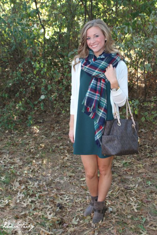 Shift Dress, Sweater, Booties, & Plaid Scarf! How to Wear Plaid 5 Ways with 5 Outfits for Fall and Winter!