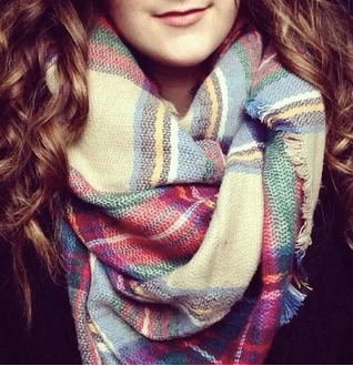 Tan, Red, and Green Plaid Scarf