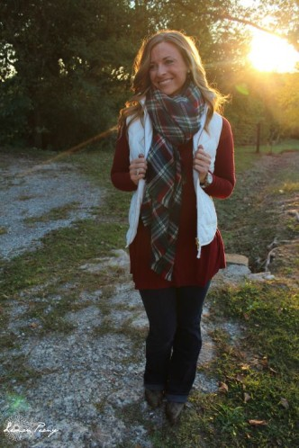 Vest, Flare Jeans, Cowboy Boots, & Plaid Scarf! How to Wear Plaid 5 Ways with 5 Outfits for Fall and Winter!