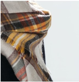 Yellow, Orange, and Brown Plaid Scarf