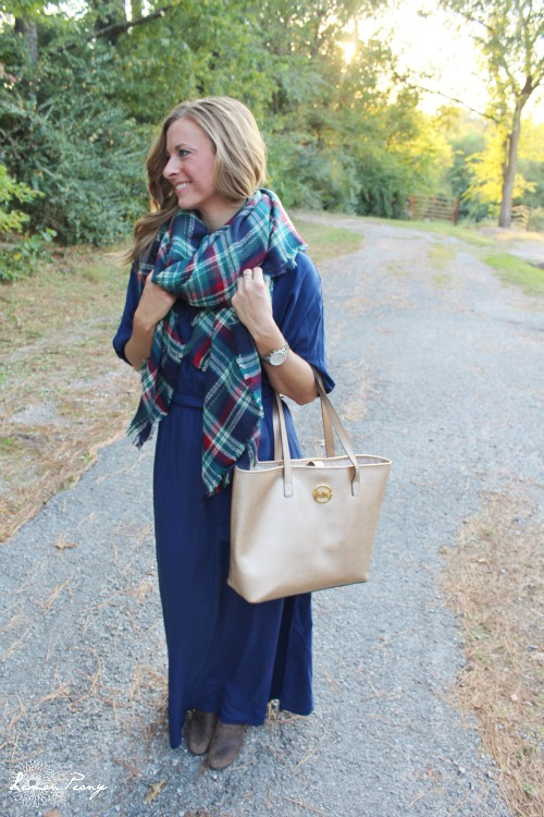 Blue Maxi Dress and Purse