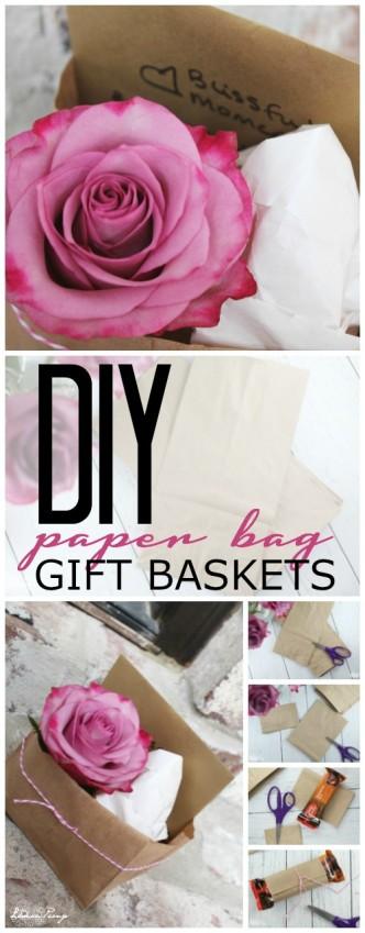 DIY Paper Bag Gift Baskets Tutorial