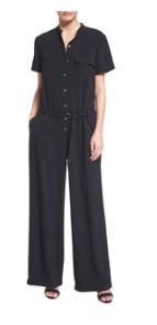 DKNY Short-Sleeve Crepe Wide-Leg Jumpsuit