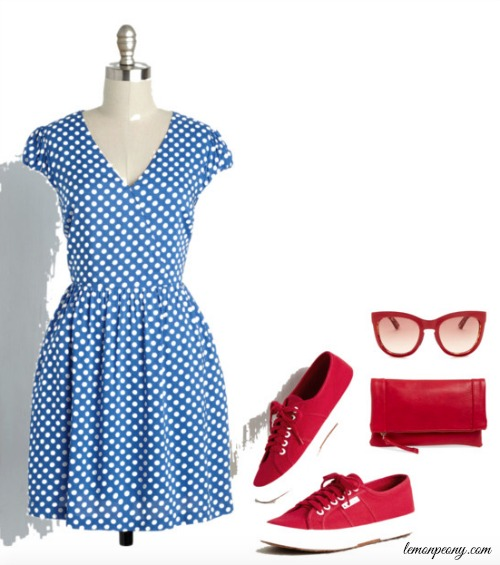Blue Dress and Red Accessories