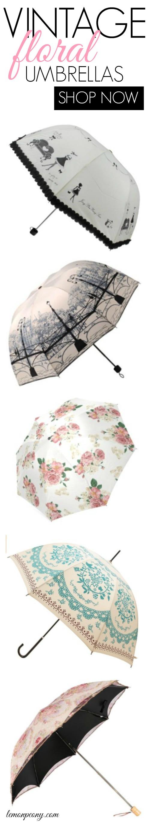 Vintage Floral Umbrellas