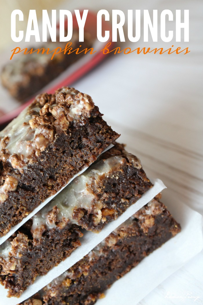 Candy Crunch Pumpkin Brownies