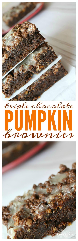 Triple Chocolate Pumpkin Brownies Recipe