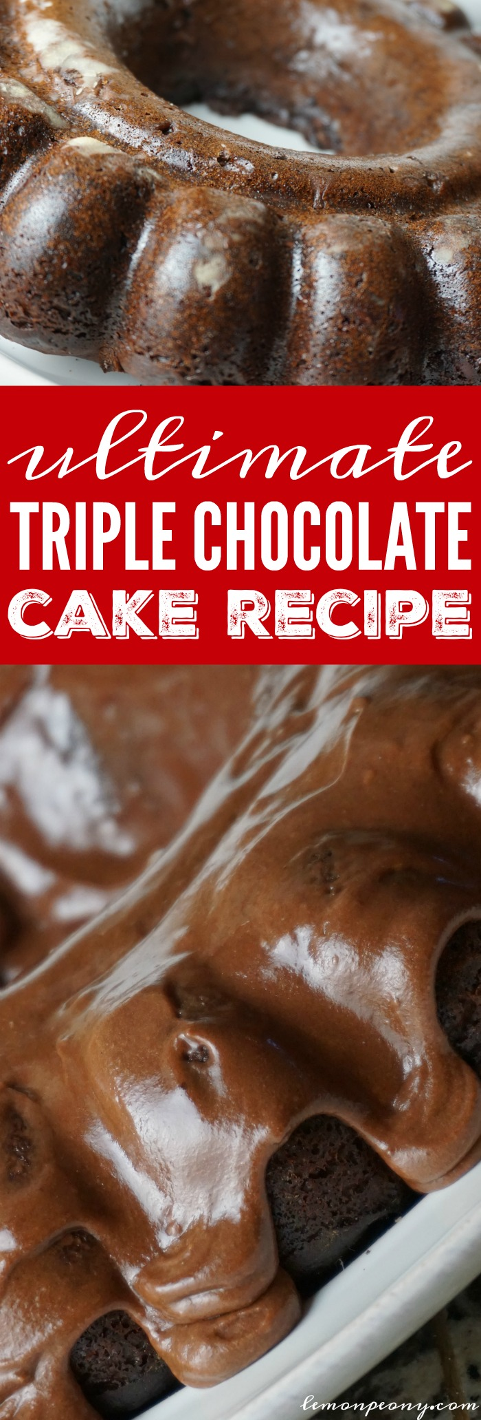This Ultimate Triple Chocolate Cake Recipe is the PERFECT Dessert Recipe for any Holiday, Valentine's Day, Christmas, Birthdays, or Special Occasions!