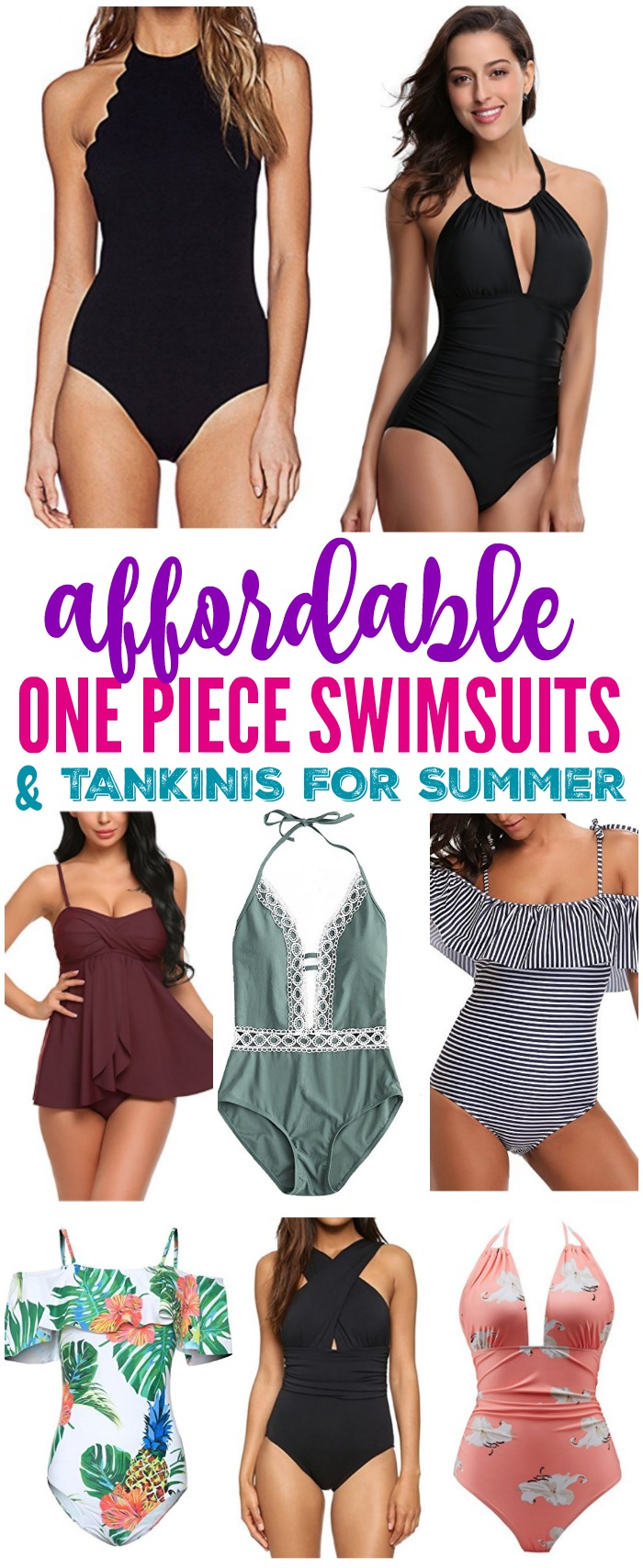 Here are some Cheap One Piece Swimsuits & Tankinis for Summer! These styles are easy, comfortable, and affordable modest bathing suits for women for the pool or beach!