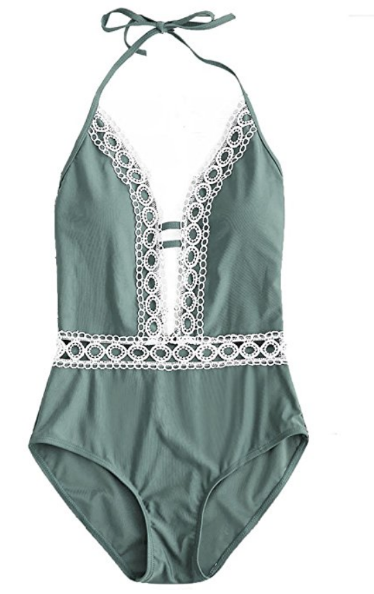 One Piece Floral Lace Halter Push-up Padded Monokini Deep V Neck Swimsuit