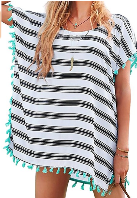 Striped Chiffon Swim Coverup