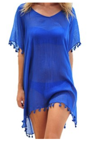 's Chiffon Tassel Kaftan Swimsuit Beach Cover Up