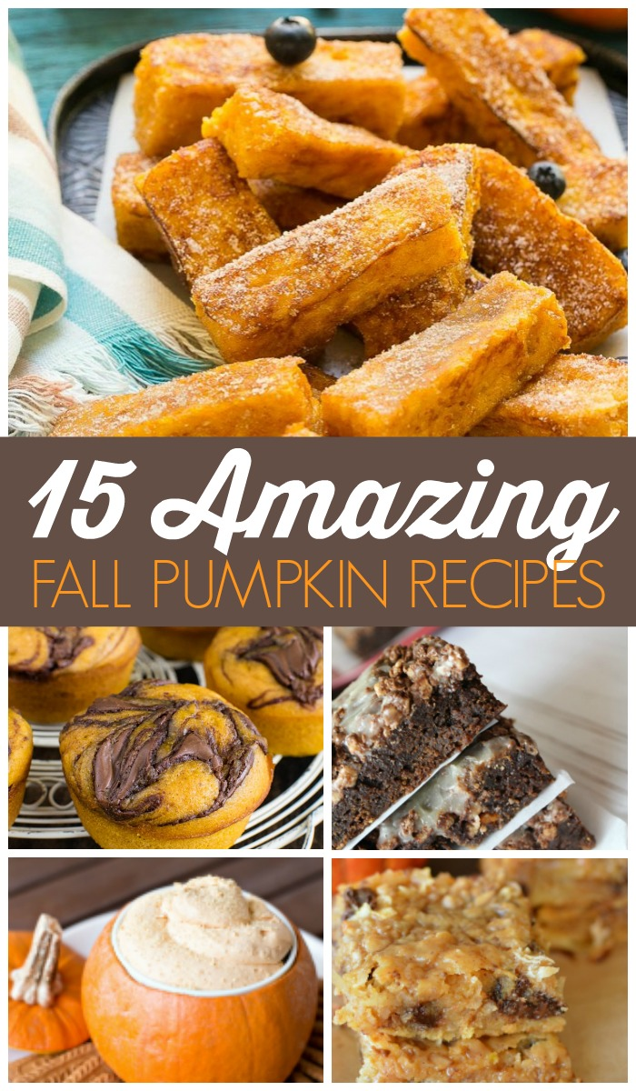 15 Amazing Fall Pumpkin Recipes! I am SO excited for all things fall, pumpkin, and cold weather! These treats, snacks, and desserts are sure to be a favorite!