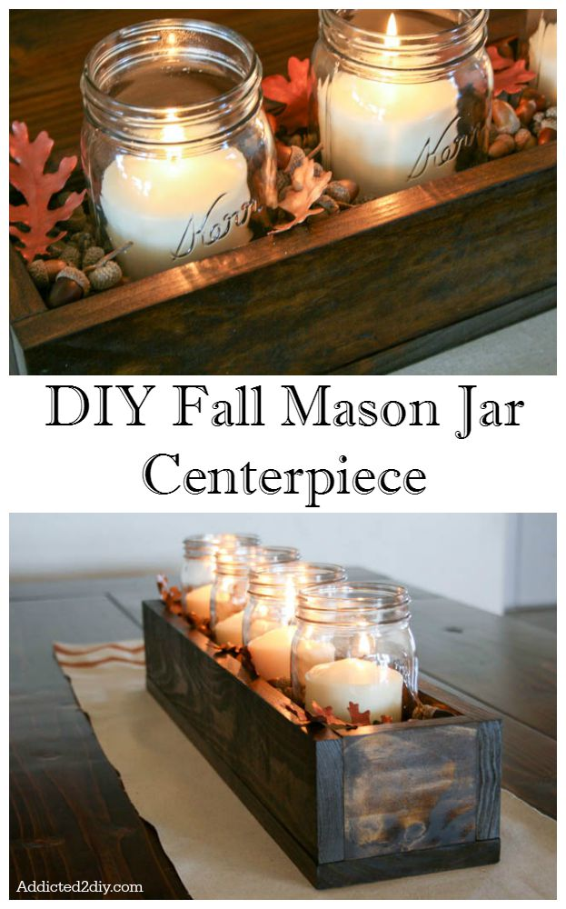 DIY Fall Centerpiece with Mason Jars