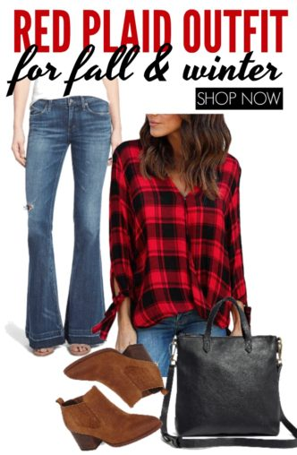 Red Plaid Outfit for Fall and Winter! Plaid, Flare Jeans, Booties, and Crossbody Totes! The cold weather everyday, casual styles and trends for Women!