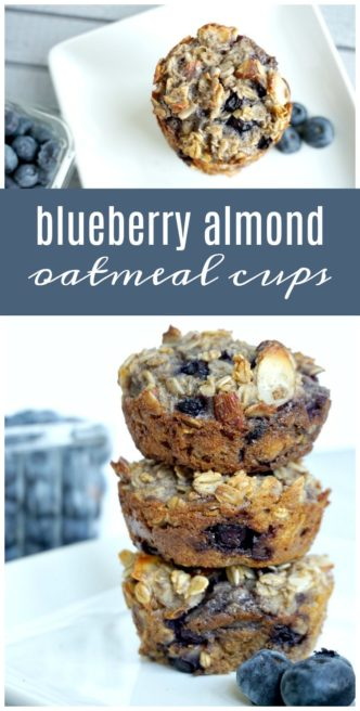 Blueberry Almond Oatmeal Cups Recipe! The Best Homemade Healthy, Easy Breakfast or snack recipe! Perfect make-ahead freezer recipe for kids or on-the-go!
