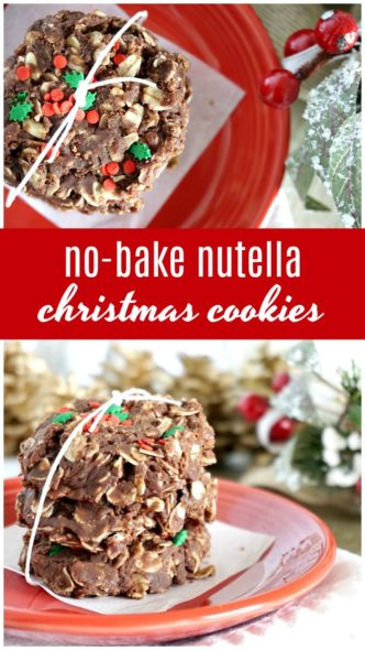 No Bake Nutella Christmas Cookies Recipe! Easy Dessert Recipe for a Cookie Exchange or Holiday Party! Christmas Gift Idea for Neighbors and Co-workers!