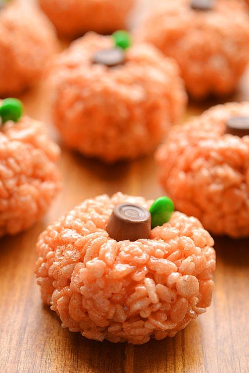 Rice Krispie Treat Pumpkins