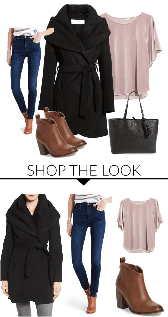 Casual Holiday Look for Women! The perfect look for Christmas Parties or New Years Eve! Love the Wrap Coat and Velvet Top!
