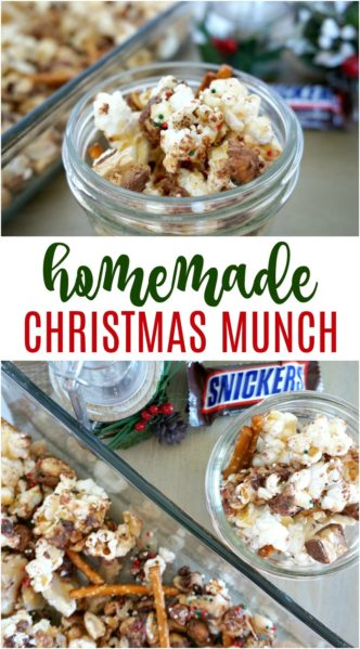 Easy Homemade Christmas Munch Recipe with Snickers Candy! Easy Holiday Treat or Dessert Recipe for Kids, Christmas Celebrations, Food Gifts, or Holiday Party!