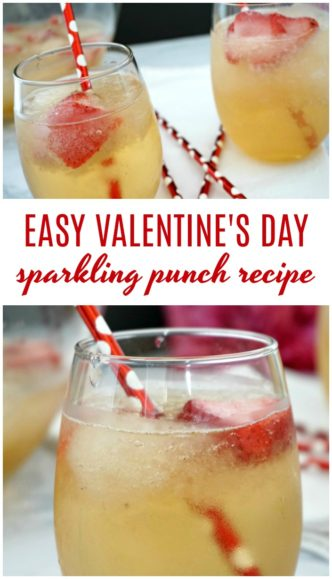 Easy Valentine's Day Sparkling Punch Recipe! Simple Valentine's Day Punch Recipe! An Easy, Two Ingredient Non-Alcoholic Sparkling Party Punch that is PERFECT for any Holiday or Special Occasion!