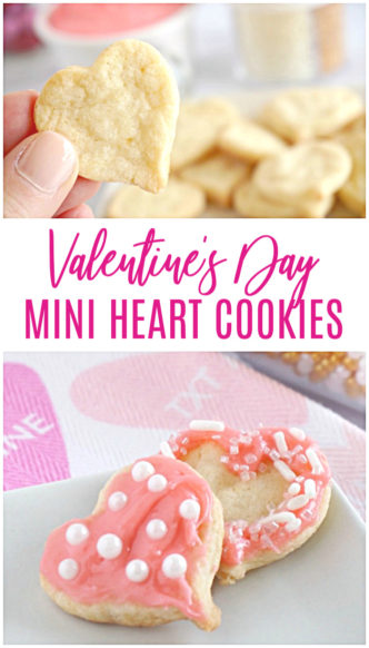 Mini Heart Cookies for Valentine's Day! Easy Valentine's Day Mini Sugar Cookies! Cute and FUN Dessert Recipe for Valentine's Day Parties or Holiday Snacks with Homemade Cream Cheese Frosting!