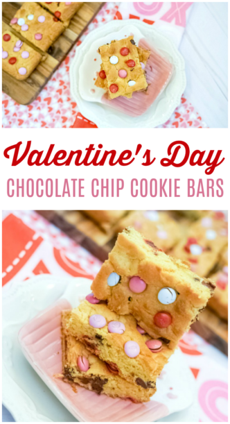 Valentine's Day Chocolate Chip Cookie Bars Recipe! A Kid Friendly Easy Treat or Dessert Recipe Perfect for Holiday Parties made with Pudding & Cake Mix!