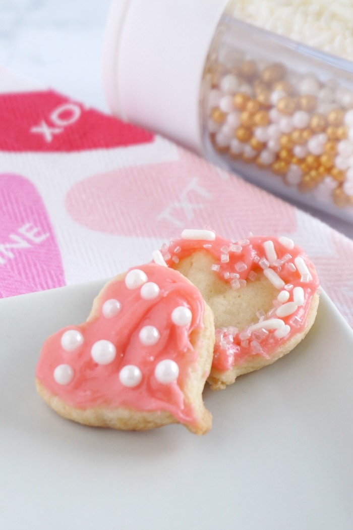 Valentine's Day Heart Cookies! Easy Valentine's Day Mini Sugar Cookies! Cute and FUN Dessert Recipe for Valentine's Day Parties or Holiday Snacks with Homemade Cream Cheese Frosting!
