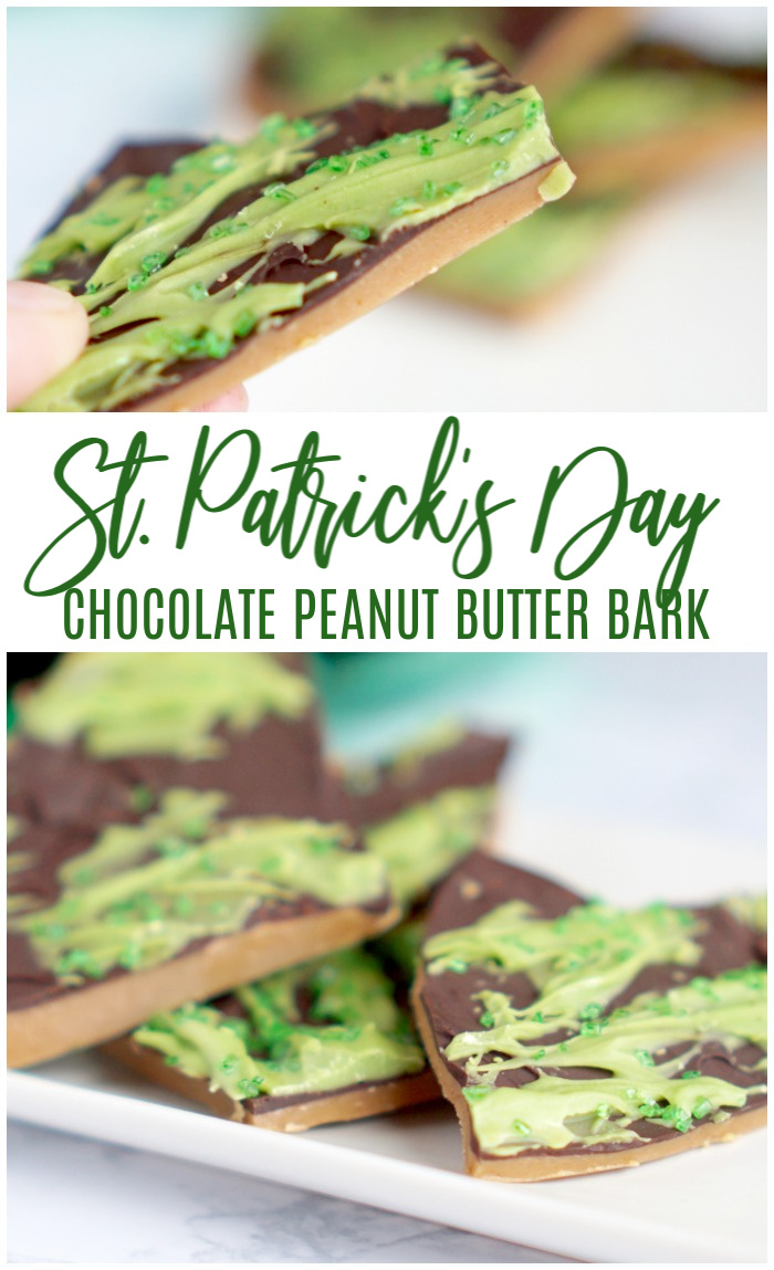 Peanut Butter Bark with Dark Chocolate! The perfect St. Patrick's Day Holiday Recipe!