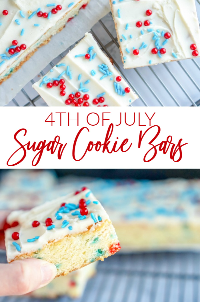 4th of July Sugar Cookie Bars, Hand Holding Cookie Bars