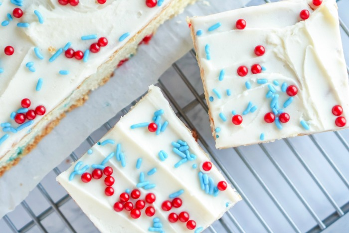 Amazing Cookie Bars Red White and Blue Sprinkles, Icing, Baking Sheet