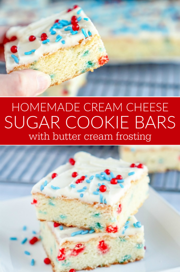 Homemade Cream Cheese Sugar Cookie Bars with Butter Cream Frosting