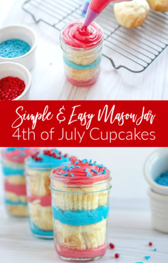 Simple and Easy Mason Jar Cupcakes for 4th of July