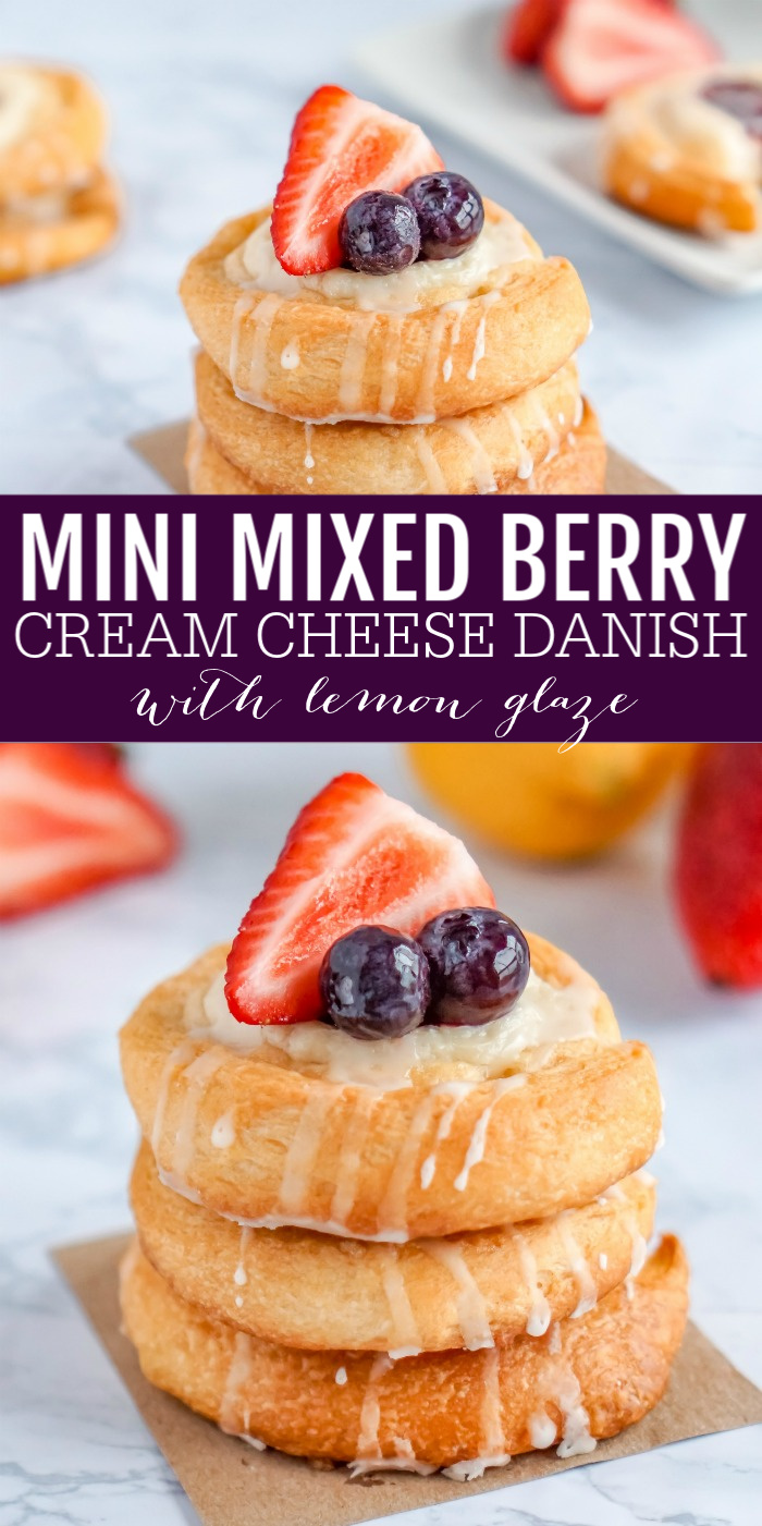 Mini Mixed Berry Cream Cheese Danish with Lemon Glaze