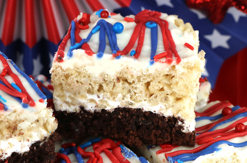 Patriotic Brownie Rice Krispie Treats