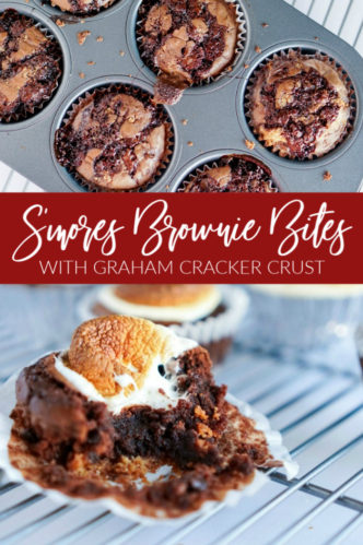 S'mores Brownie Bites with Graham Cracker Crust