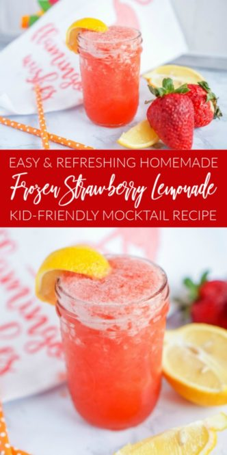 Frozen Strawberry Lemonade Kid-Friendly Mocktail Recipe