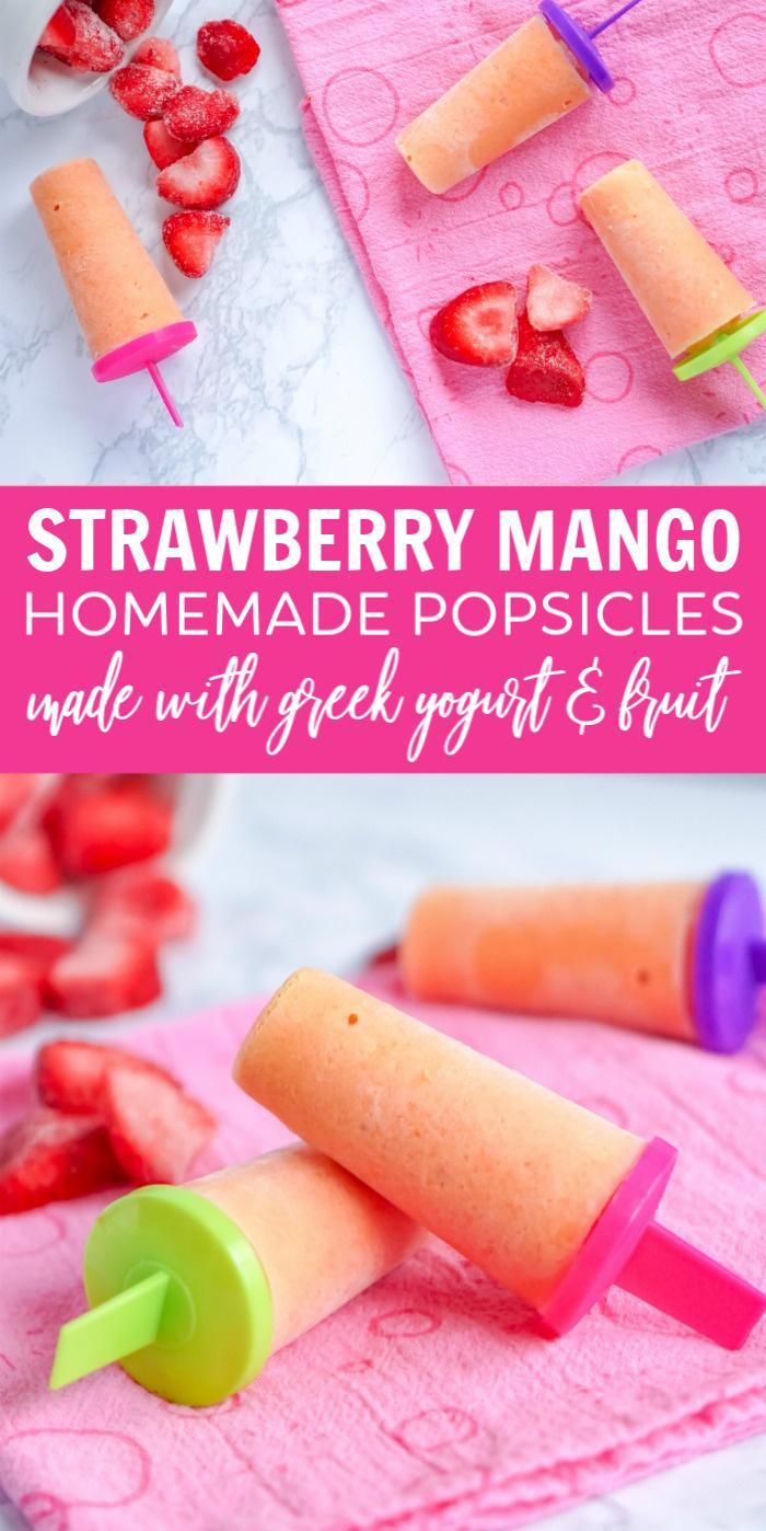Greek Yogurt Strawberry Mango Popsicles